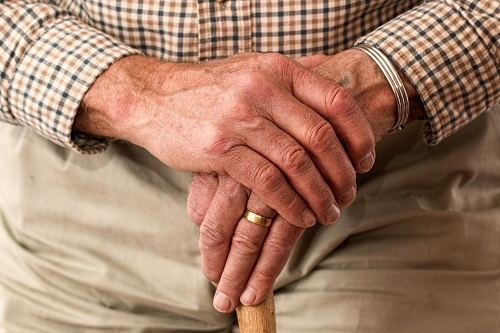 a  close up of an elderly person's hands